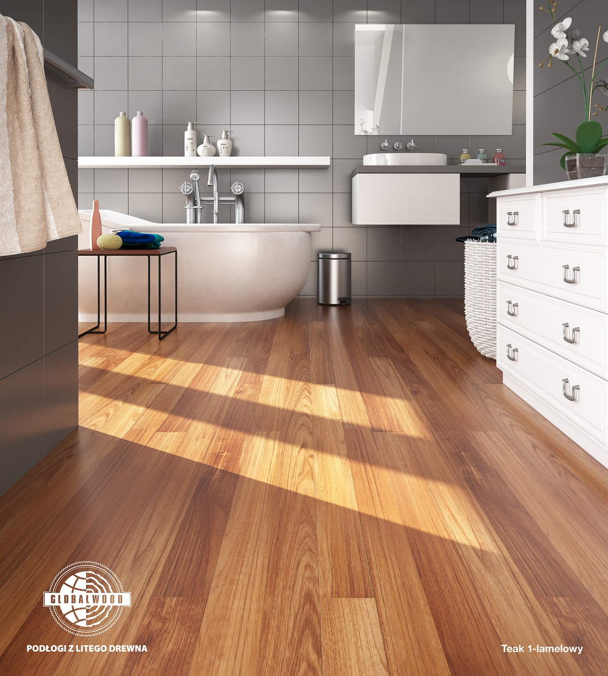 TEAK 1 strip wood floor