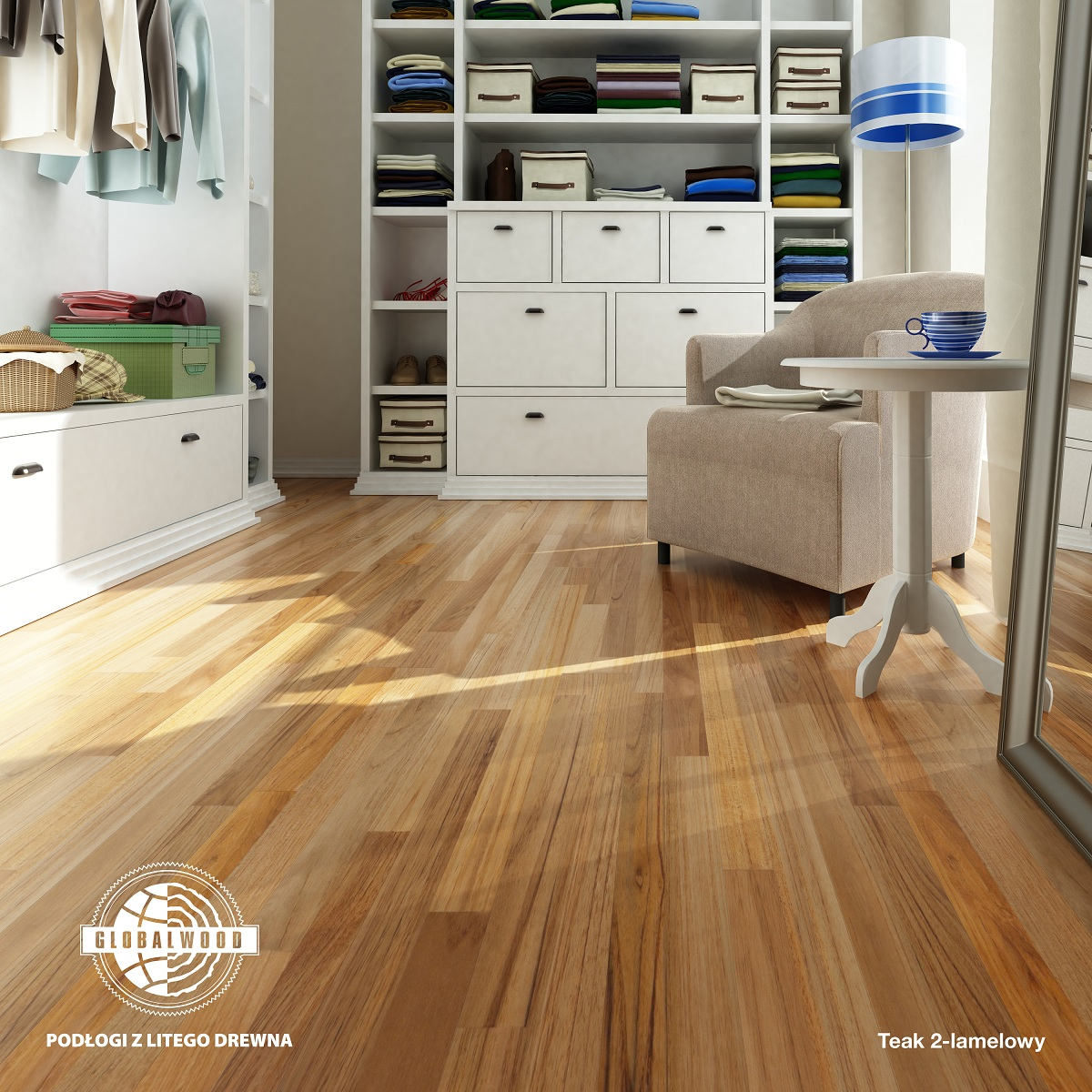 TEAK 2 strip wood floor